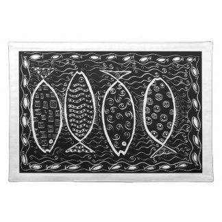 Four Patterned Fish Placemat