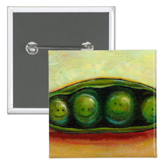 Four peas in a pod fun unique original art 15 cm square badge