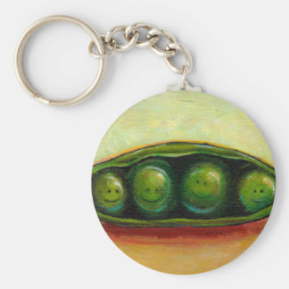 Four peas in a pod fun unique original art basic round button key ring
