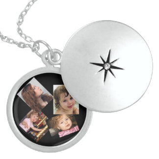 Four Photo Collage Template Locket Necklace