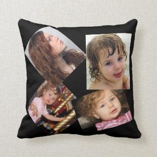 Four Photo Collage Template Throw Pillow