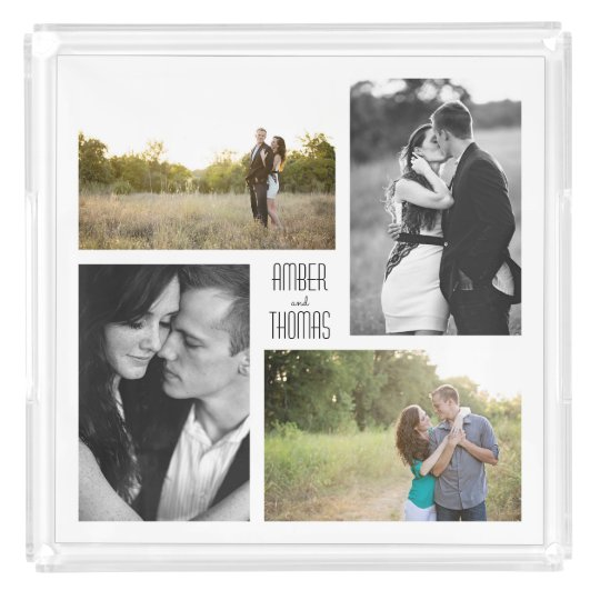 Four Photo Collage Tray with Custom Name Text