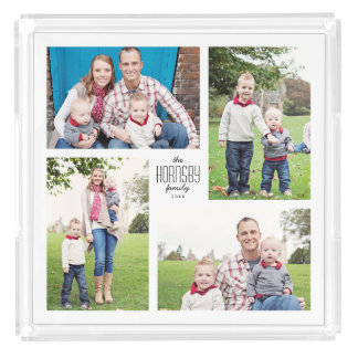 Four Photo Collage Tray with Family Name Text