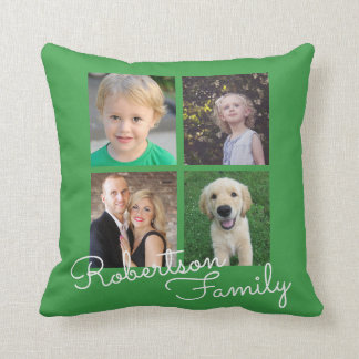 Four Photo Family Collage Green Cushion