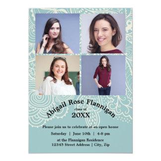 Four Photos Collage Blue Lace - Grad Announcement
