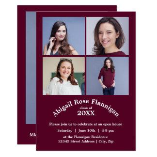 Four Photos Collage Burgundy-Grad Announcement