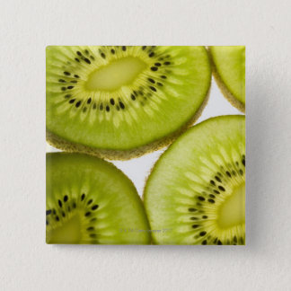 Four pieces of sliced kiwi 15 cm square badge