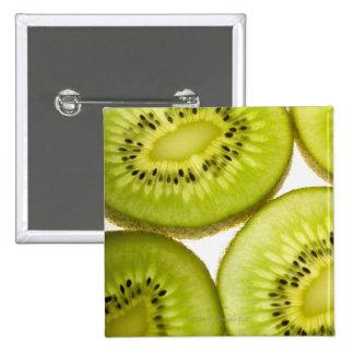 Four pieces of sliced kiwi 15 cm square badge