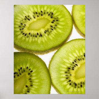 Four pieces of sliced kiwi poster