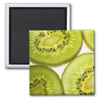 Four pieces of sliced kiwi square magnet