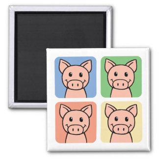Four Pigs Square Magnet