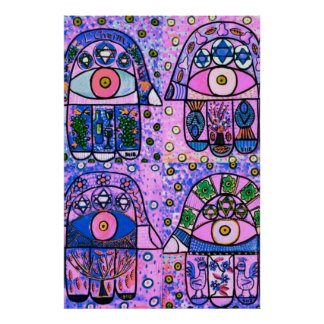 Four Pink Vintage Tapastry Hamsa Poster