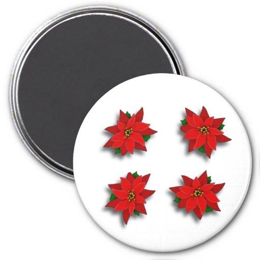 Four Poinsettias Refrigerator Magnets