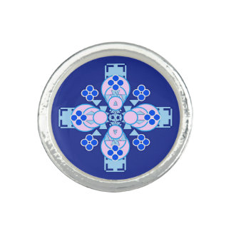 Four point Mandala - orchid, blue and cobalt Photo Ring