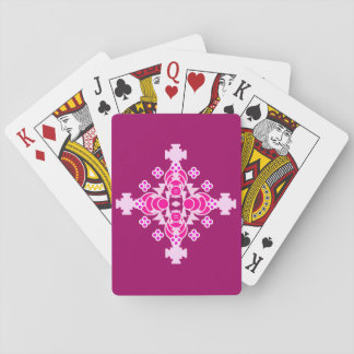 Four point Mandala - pale pink and plum Poker Cards
