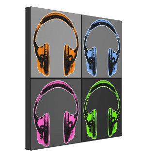 Four Pop Art Headphones Canvas Print