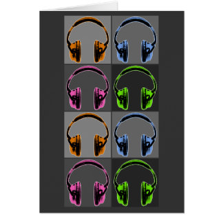 Four Pop Art Headphones Card