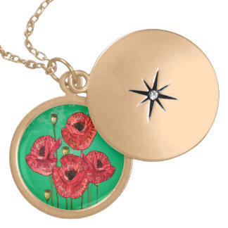 Four poppies with green gradient background lockets