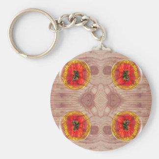 Four poppy globes on wood key ring