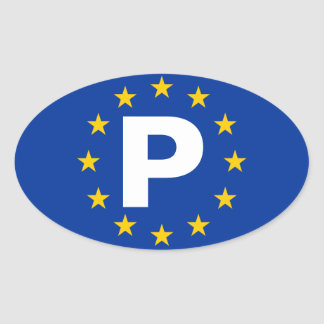 "FOUR Portugal ""P"" European Union Oval Sticker"