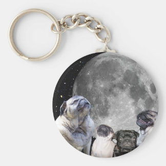 Four Pug Moon Basic Round Button Key Ring
