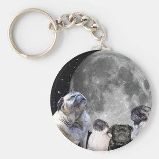 Four Pug Moon Key Ring