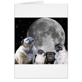 Four Pug Moon Pug Greeting Card