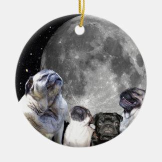 Four Pug Moon Pug Round Ceramic Decoration