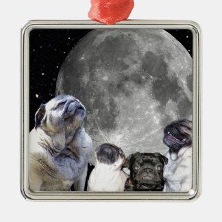 Four Pug Moon Pug Silver-Colored Square Decoration