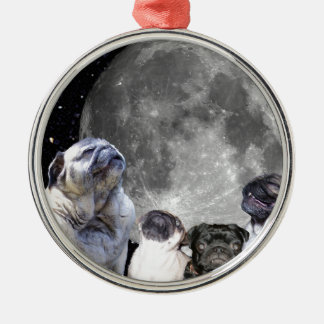 Four Pug Moon Silver-Colored Round Decoration