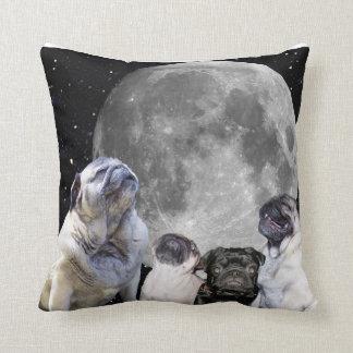 "Four Pug Moon Throw Pillow 16"" x 16"" Cushion"