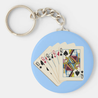 Four Queens - Poker Hand - Play To Win Charms Key Ring