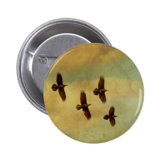 Four Ravens Flying 6 Cm Round Badge