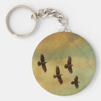 Four Ravens Flying Key Ring