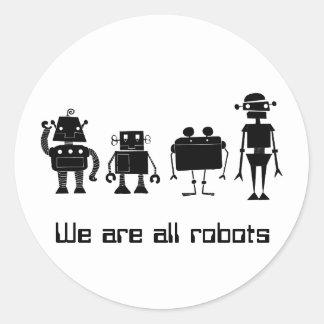 Four Robots Classic Round Sticker