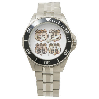 Four Route 66 Vintage Signs Wrist Watch