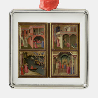 Four Scenes from the Life of St. Nicholas: St. Nic Silver-Colored Square Decoration