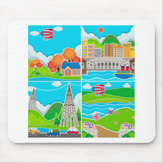 Four scenes of city and countryside mouse pad