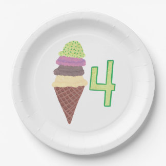 Four Scoops Ice Cream Cone Birthday Paper Plates