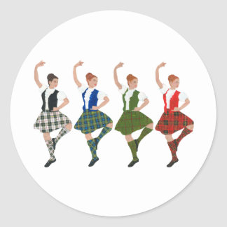 Four Scottish Highland Dancers Round Sticker