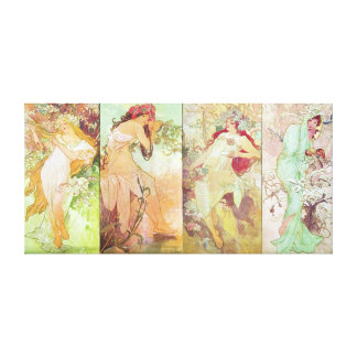 Four Seasons by Alfons Mucha, 1896 Stretched Canvas Print