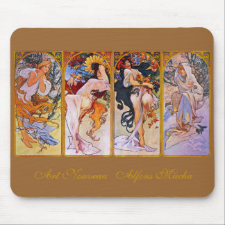 Four Seasons by Alfons Mucha Mousepads