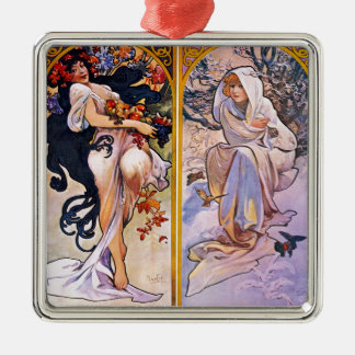 Four Seasons by Alphonse Mucha 1895 Christmas Ornament