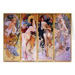 Four Seasons by Alphonse Mucha 1895 Greeting Card