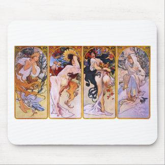 Four Seasons by Alphonse Mucha Mousepad