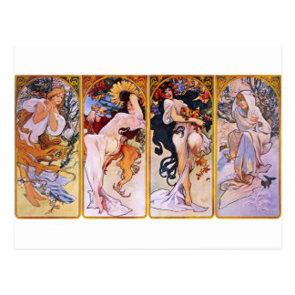 Four Seasons by Alphonse Mucha Postcard
