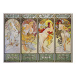 Four Seasons by Alphonse Mucha Poster