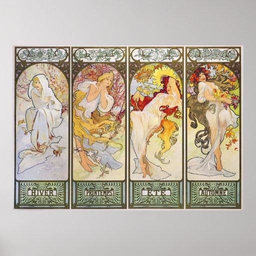 Four Seasons by Alphonse Mucha Poster