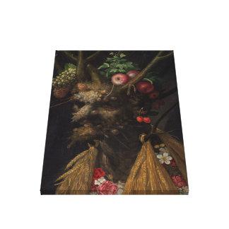 Four Seasons in One Head - Giuseppe Arcimboldo Gallery Wrap Canvas