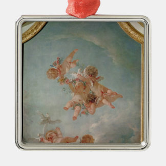 Four Seasons in the Salle du Conseil  - Spring Silver-Colored Square Decoration